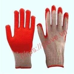 Găng tay sợi cotton dệt máy 7 kim loại 70g nhúng một mặt