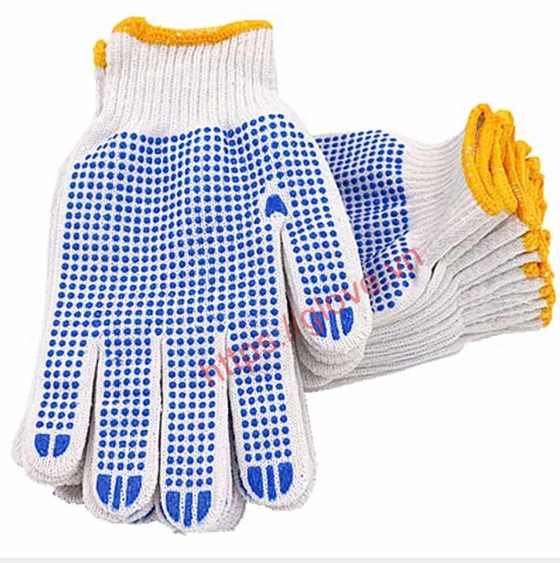 Bao tay cotton dệt máy 10 kim phủ hạt nhựa loại 60g