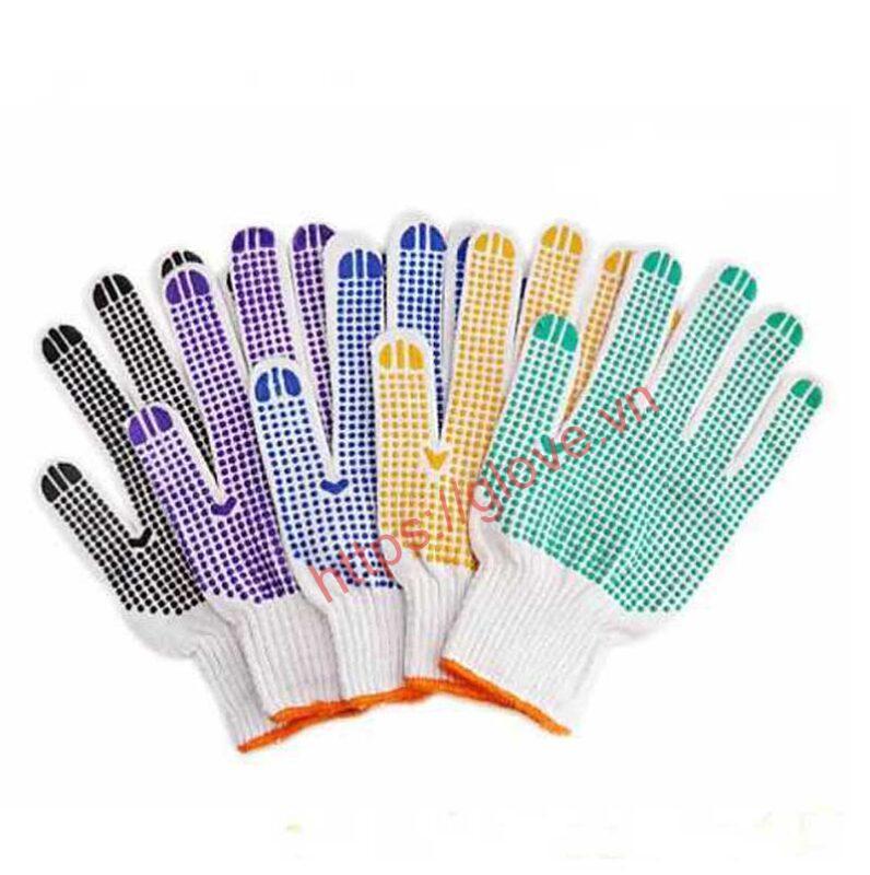 Bao tay poly dệt máy 10 kim phủ hạt nhựa loại 60g