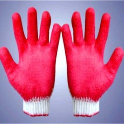 Găng tay sợi cotton dệt máy 7 kim loại 50g nhúng một mặt